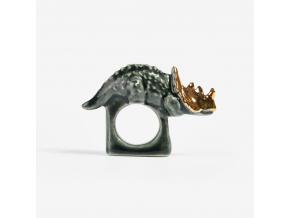 Minka Zvířecí prsten porcelán tmavý dinosaurus se zlatým zdobením