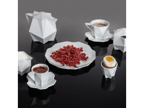 Kubistický šálek na espresso s podšálkem
