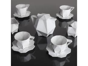 Kubistický šálek na kávu s podšálkem