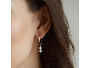 Náušnice double pearl hoops B