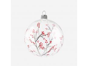 Vánoční baňka s cesmínou čirá