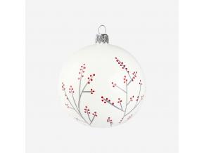 Vánoční baňka s cesmínou bílá