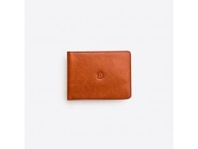 Kožená peněženka Slim na karty - hnědo-modrá
