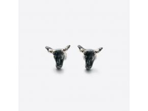 Zvířecí náušnice porcelán - černá kráva