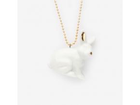 Zvíře na řetízku porcelán - králíček se zlatým zdobením