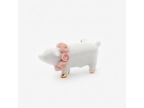 Zvířecí brož porcelán - prasátko s růžovými květy