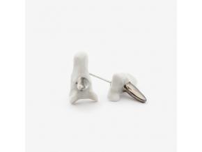 Zvířecí náušnice porcelán - jednorožci se střbrným zdobením