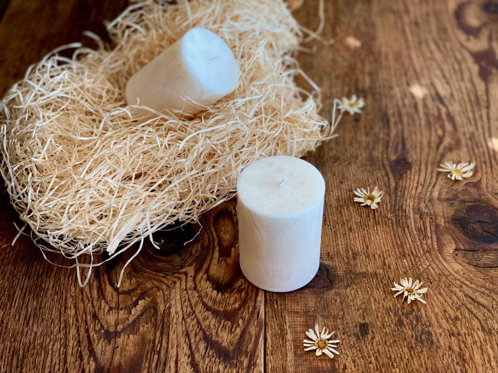 Přírodní palmová svíčka - válec malý  bez vůně