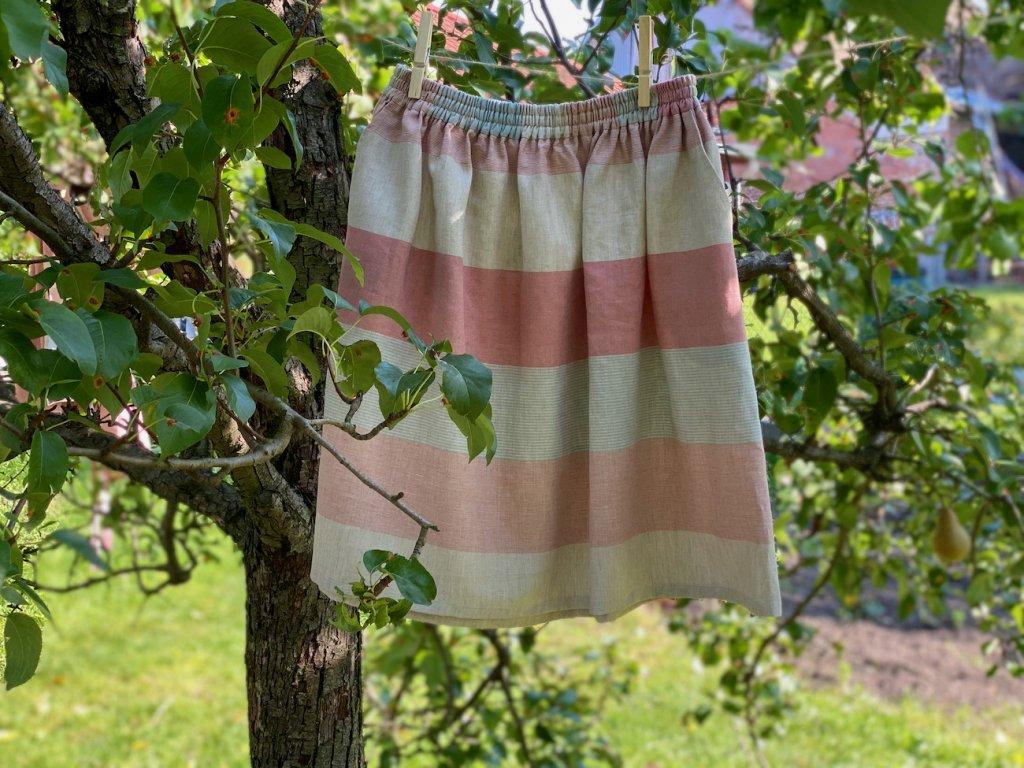 Sukně s kapsou - pruhy K. - horní pruh modrá růžový proužek