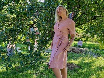 Šaty zavinovací - růžové