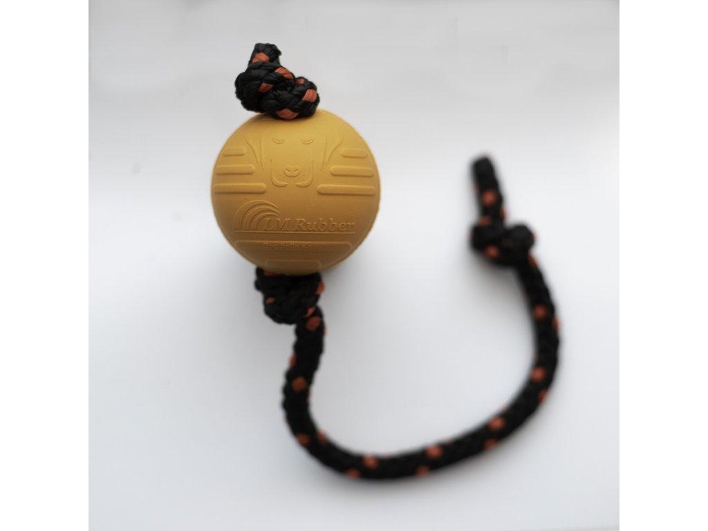 Oranžový Dogballs míček s červeným lanem