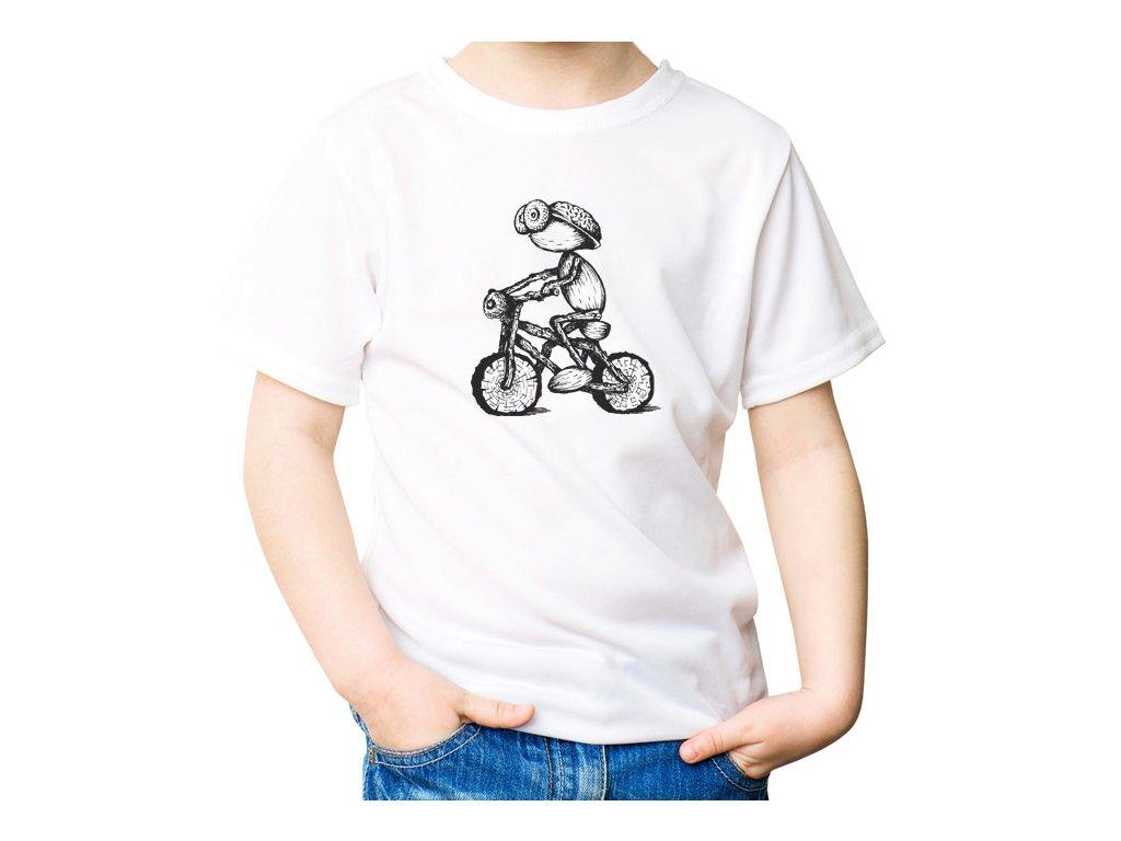 VÝPRODEJ: Zelené jablečné tričko velikosti M s kresleným dubánkem - cyklistou