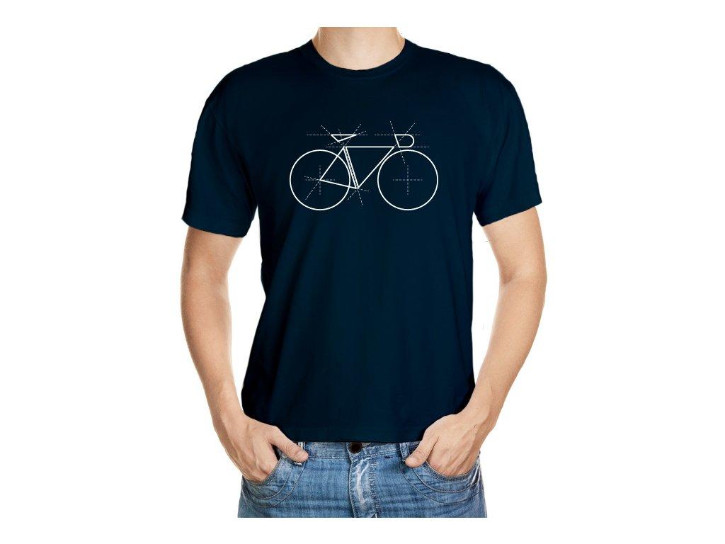 VÝPRODEJ: Černé tričko velikosti L s geometrickým kolem, bílý tisk