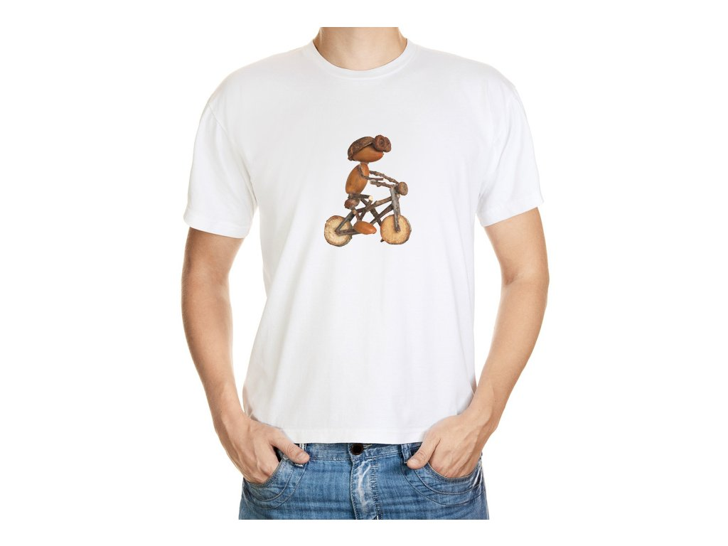 VÝPRODEJ: Bílé dětské tričko velikosti 4 roky s dubánkem cyklistou