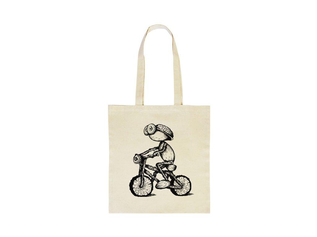 Taška s kresleným dubánkem cyklistou