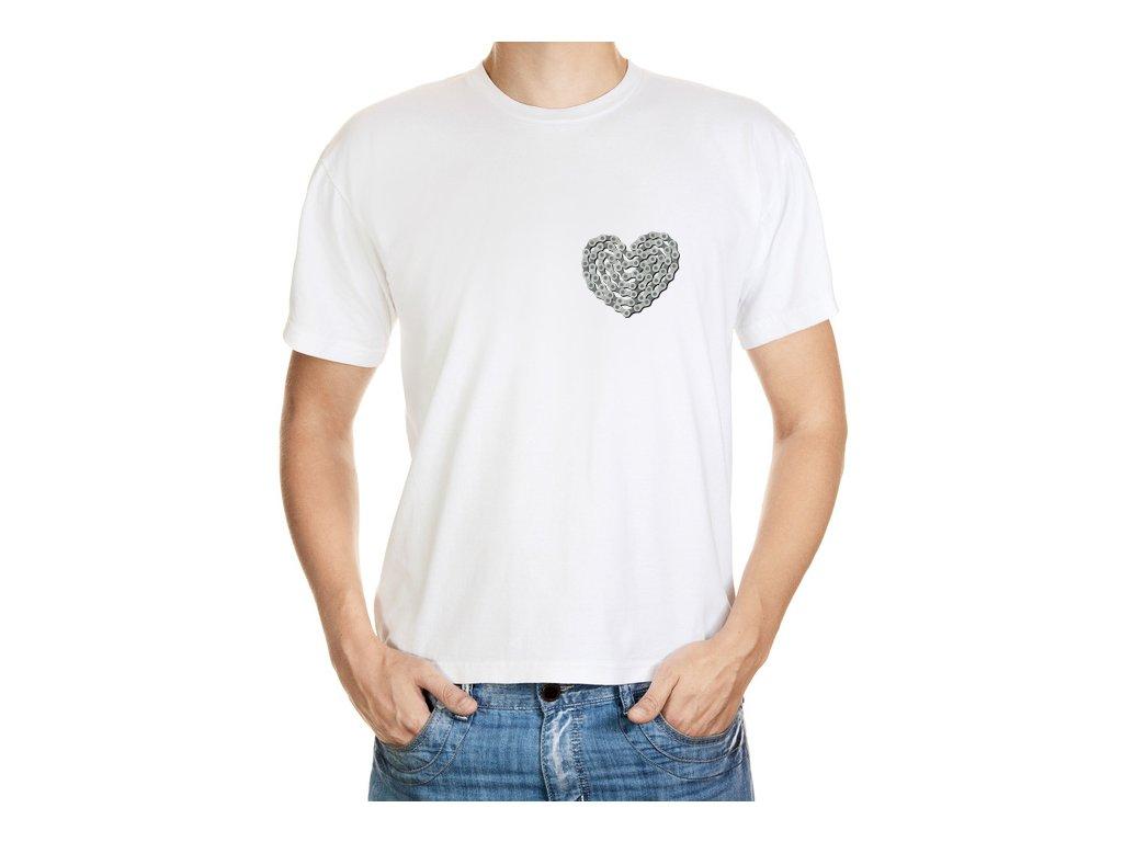 Tričko se srdcem z řetězu na kolo