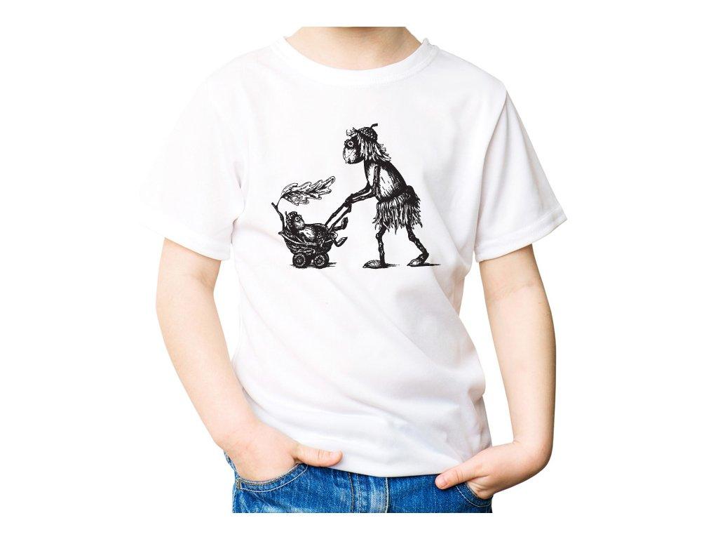 VÝPRODEJ: Bílé tričko s duběnkou a kočárkem velikosti M