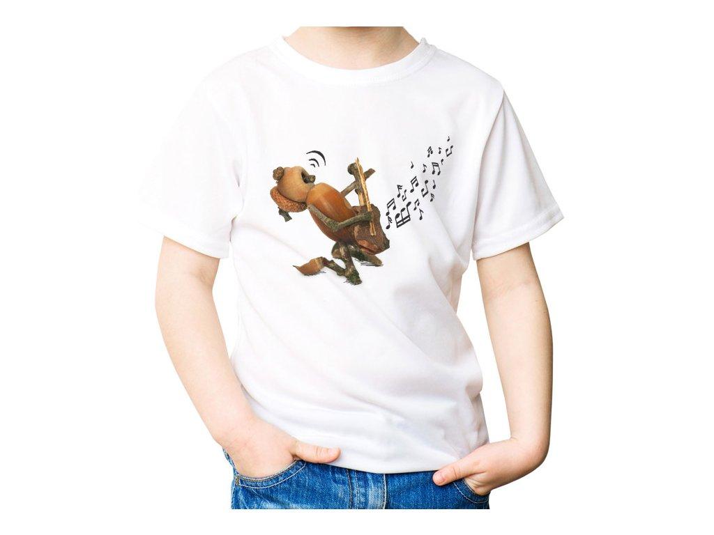 VÝPRODEJ: Bílé dětské tričko velikosti 4 roky s dubánkem kytaristou