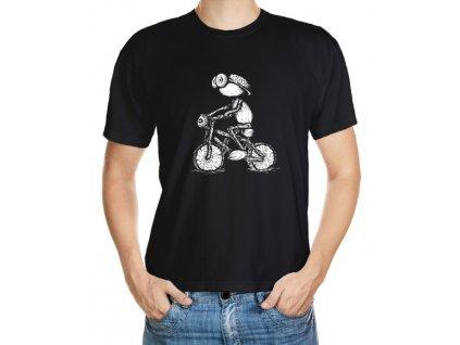 Tmavé tričko s kresleným dubánkem cyklistou