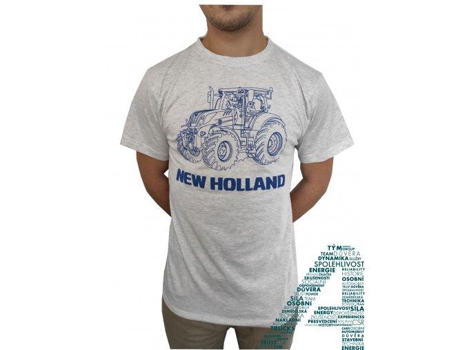 Pánské šedé tričko s modrým traktorem