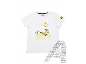 Bílé dětské tričko s kombajnem