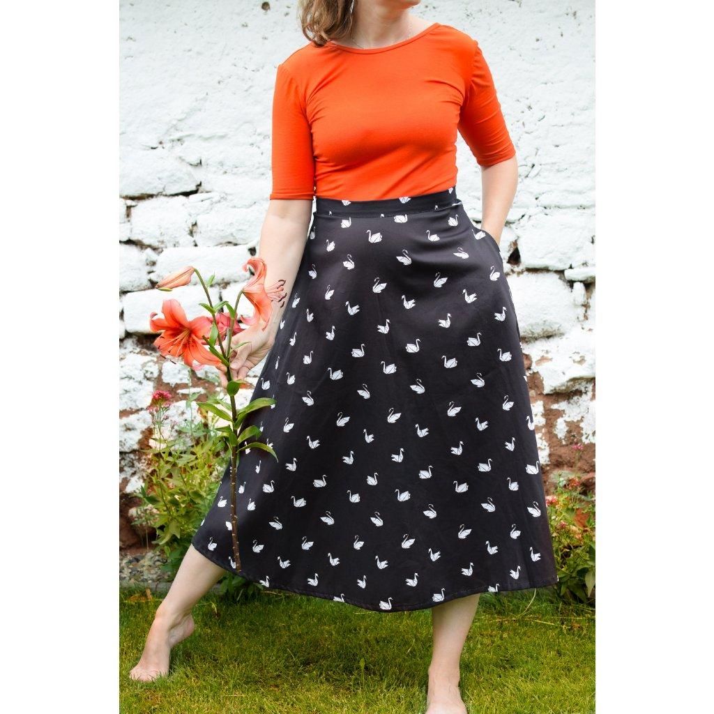 Midi sukně Monica - Černá labutí