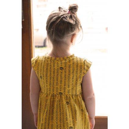 Dětské šaty Anna - hořčičná liščí