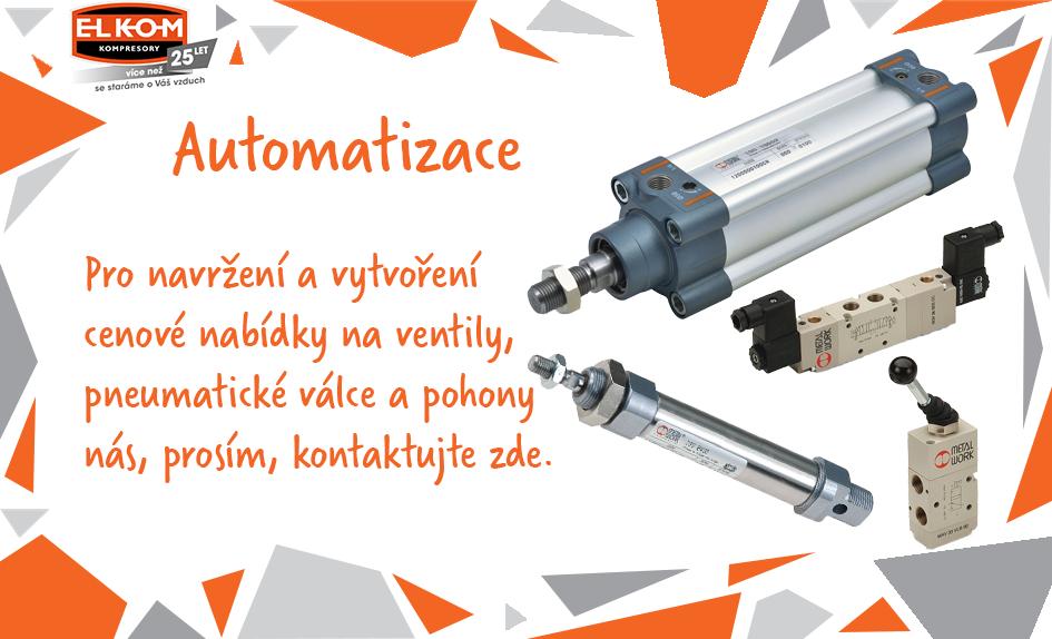 Automatizace - pneumatické válce, ventily a pneumatické pohony