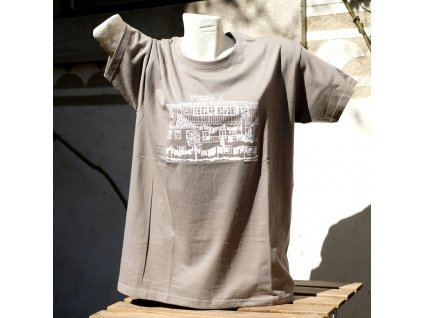 Tričko Egon Schiele: Předměstský dům s prádlem - šedé s bílým potiskem