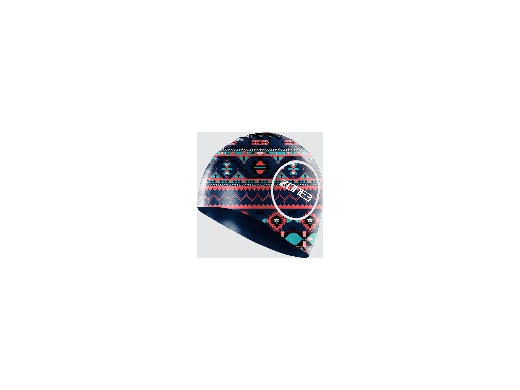 Silicone Swim Cap - 48g - AZTEC - NAVY/BLUE/PINK - OS