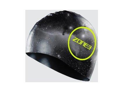 Silicone Swim Cap - 48g - COSMIC - GREY/FLURO YELLOW - OS