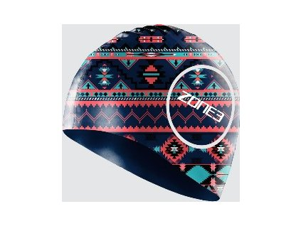 Silicone Swim Cap - 48g - AZTEC - NAVY/BLUE/PINK - OS