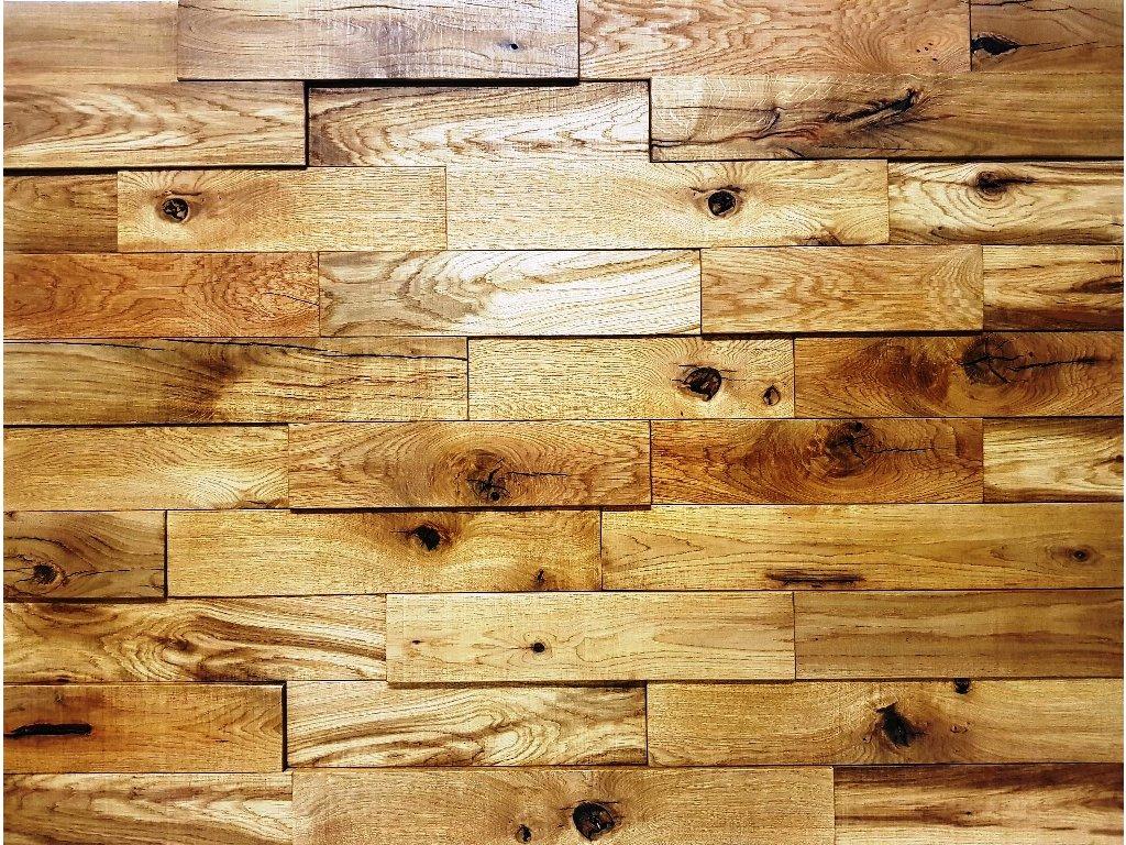 Obklad dřevěný katrovaný masiv dub suky