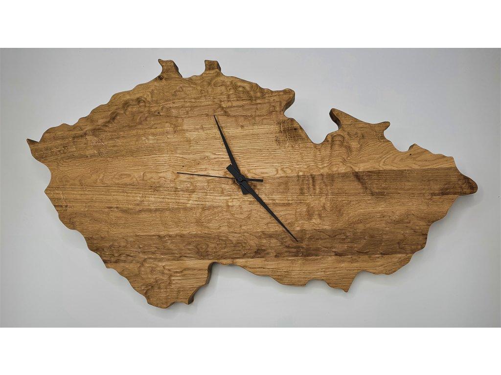 Hodiny dřevěné nástěnné HT 9947DB - Česká republika 60x34cm