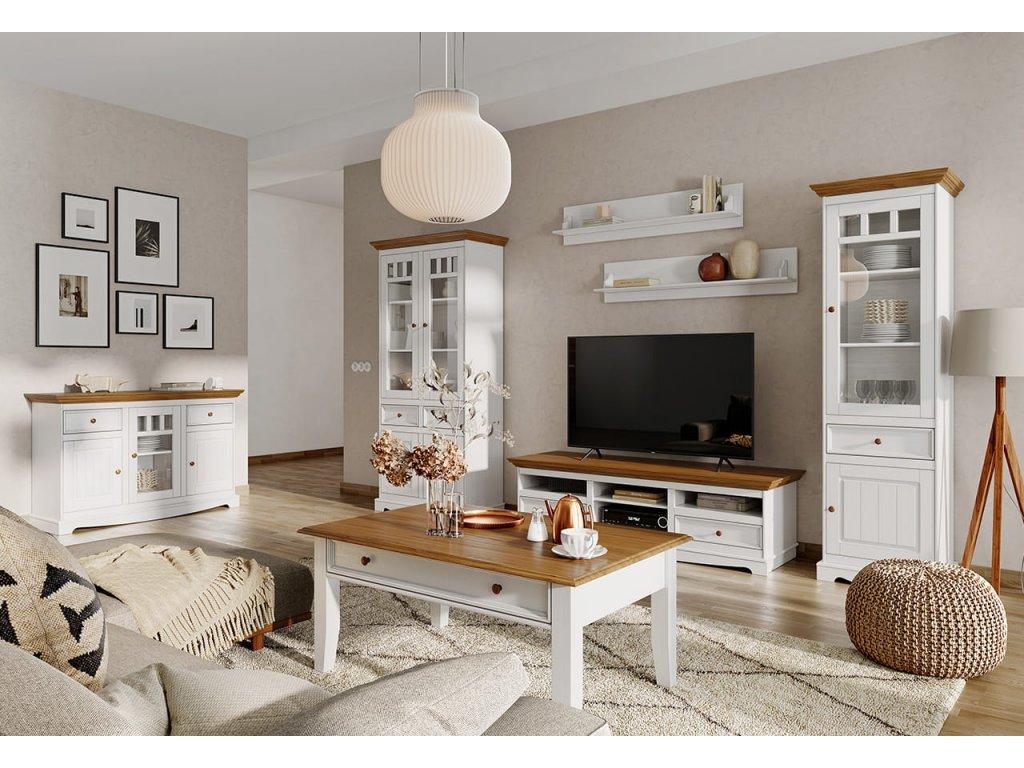 Belluno Elegante konferenční stolek bílý - dub