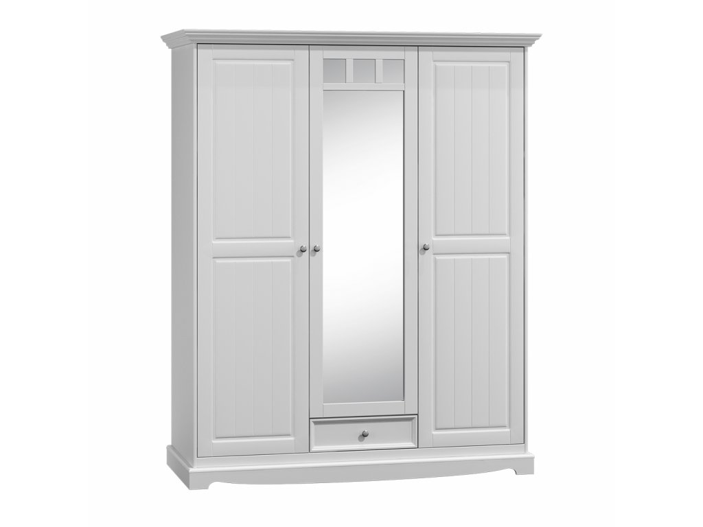 Skříň dřevěná třídveřová zrcadlo bílá