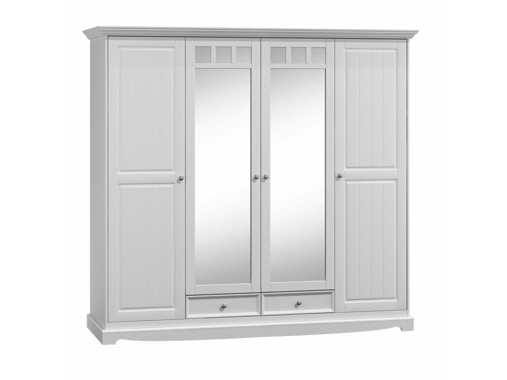 Dřevěná skříň se zrcadlem velká bílá