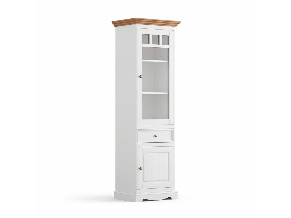 Belluno Elegante vitrína bílá medový dub