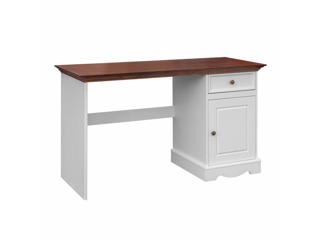 Psací stůl jednoduchý stylový bílá-ořech