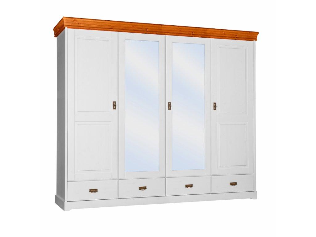 Velká skříň se zrcadlem Toskania bílá med
