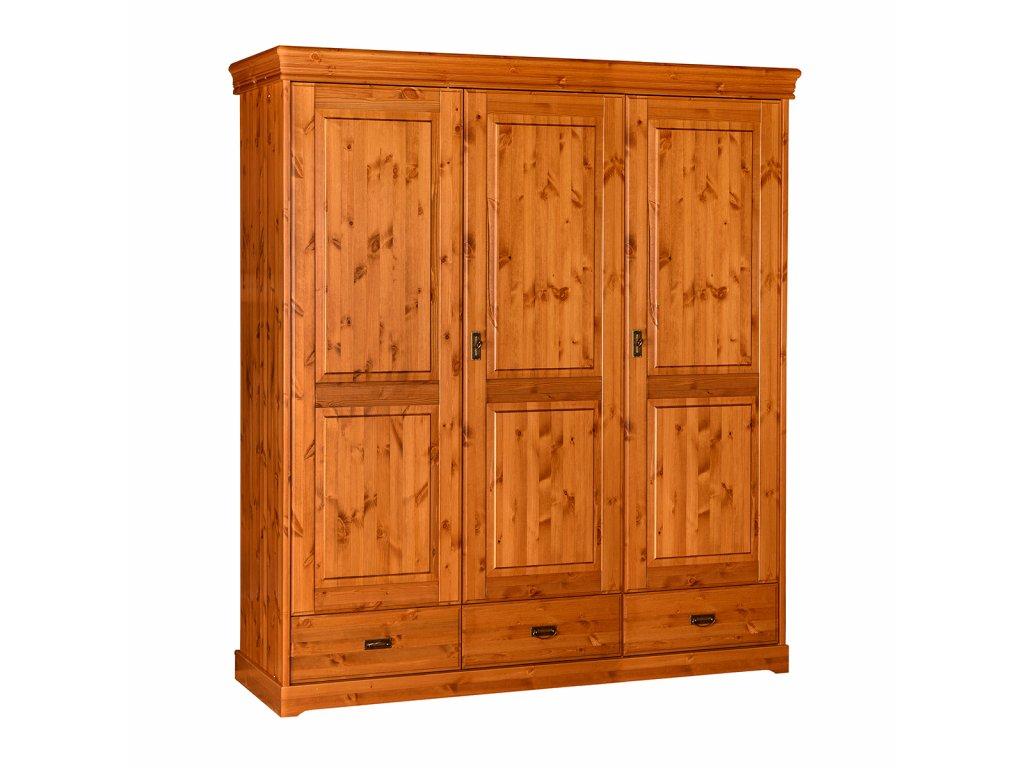 Šatní skříň dřevěná třídveřová klasika