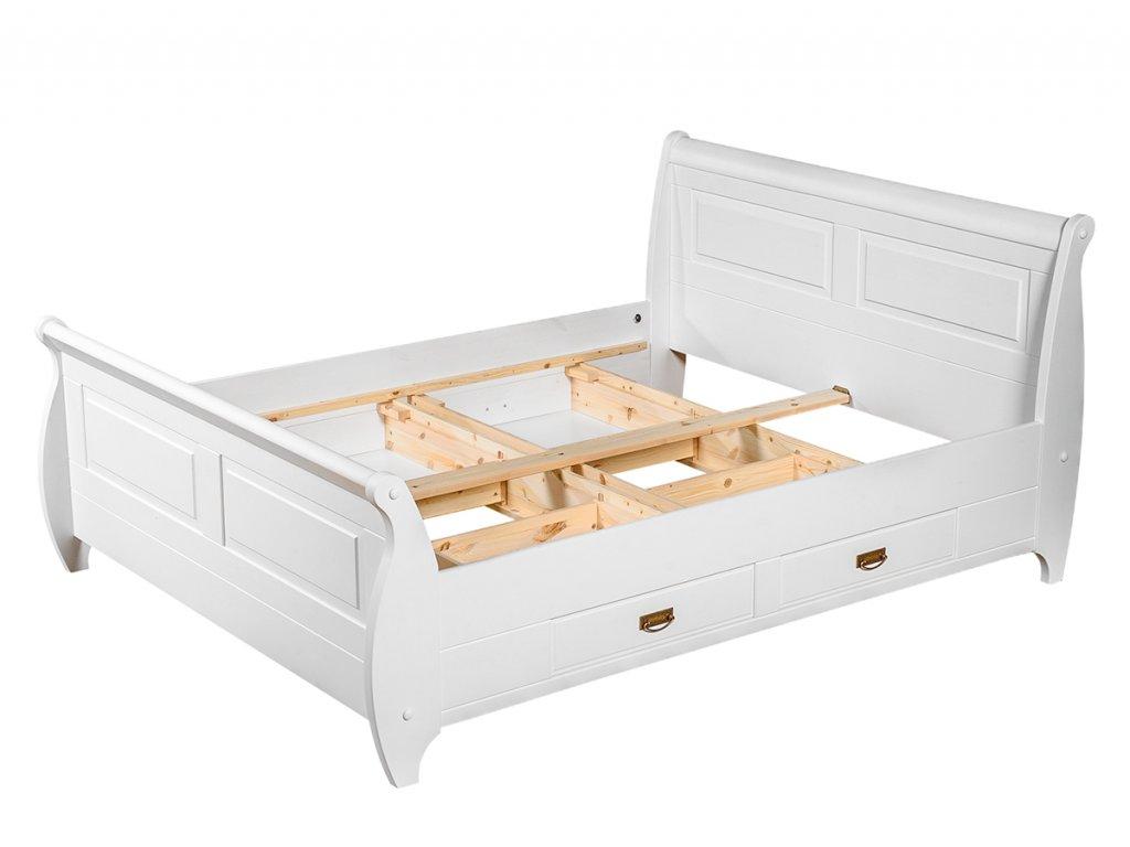 Postel Toskania dřevěná bílá 160x200