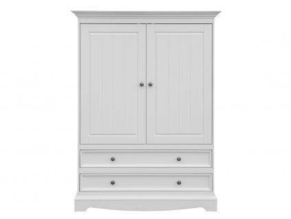 Dřevěná nízká skříň se zásuvkami bílá