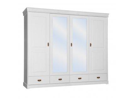 Velká bílá skříň 4D se zrcadlem