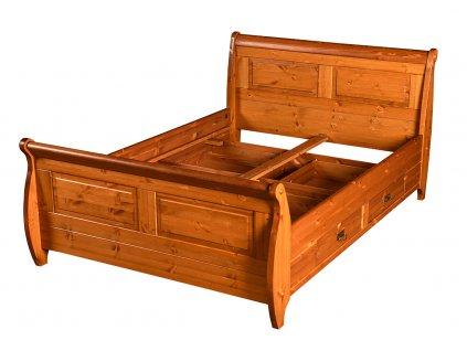 Dřevěná postel medová 160x200