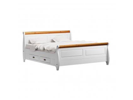 Toskania postel bílá med 140x200