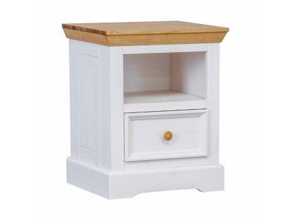 Noční stolek bílý/dub