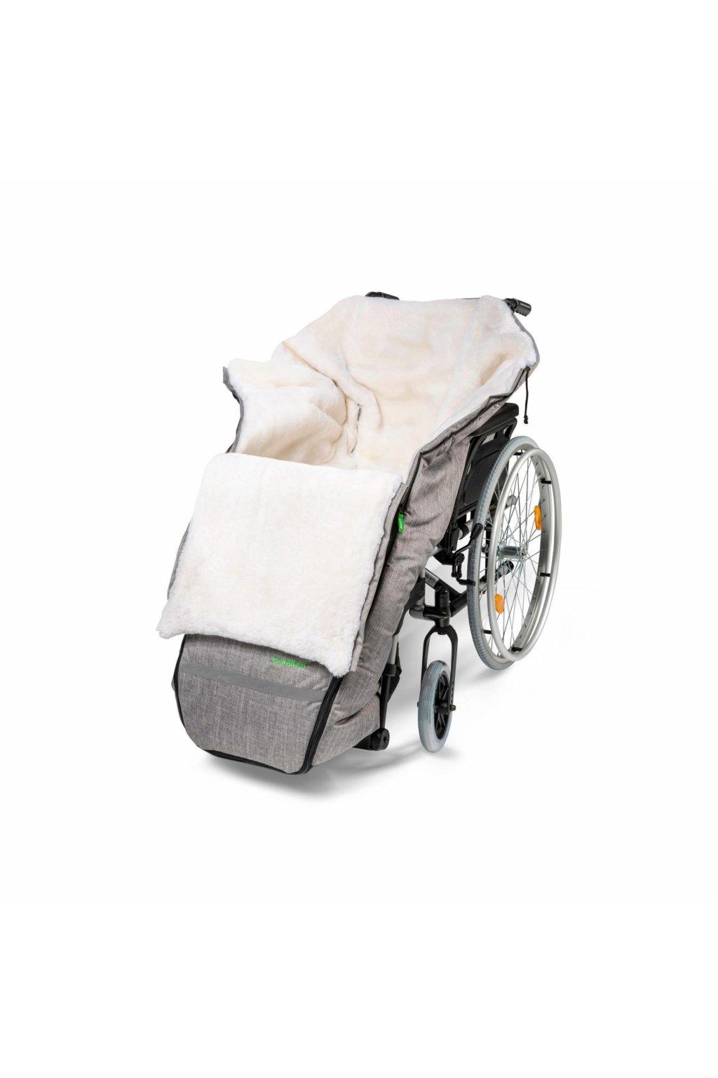 Rollstuhl Schlüpfsack mit Lammfell black melange 3