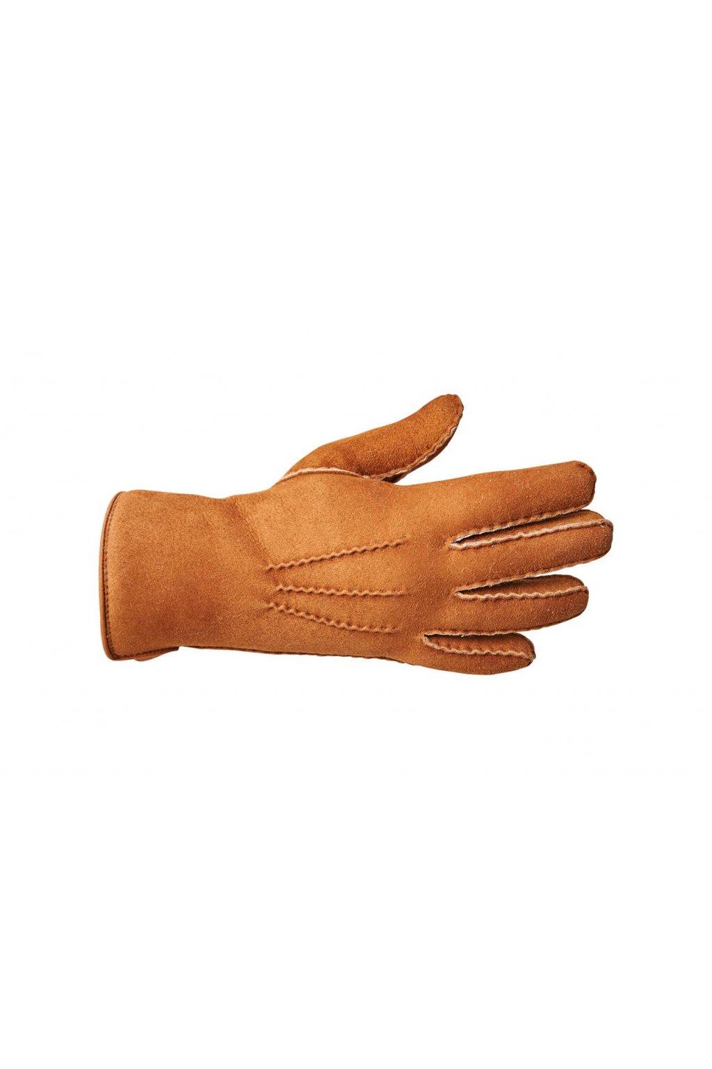 Lammfell Fingerhandschuhe für Herren cognac 0