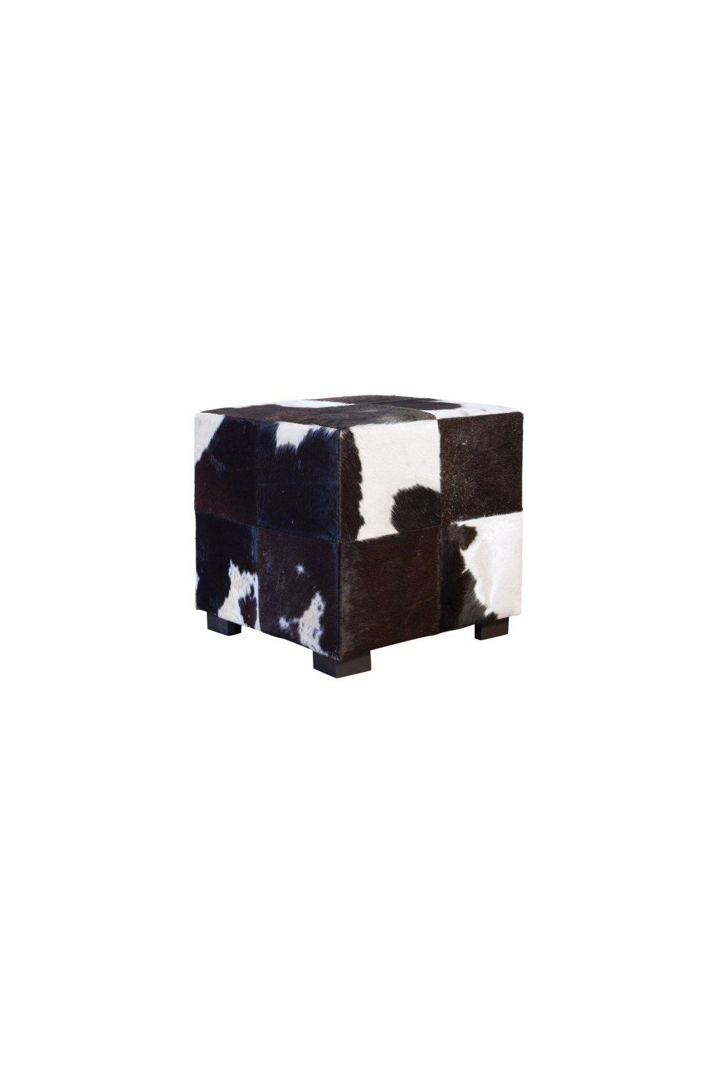Fellhocker schwarz weiss 45x45x45